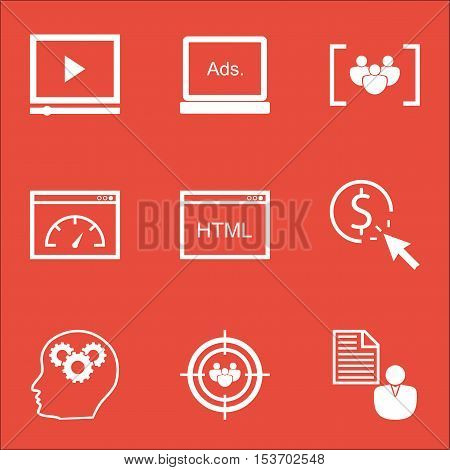 Set Of Advertising Icons On Loading Speed, Questionnaire And Report Topics. Editable Vector Illustra
