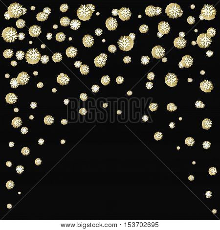 Black arc design with golden snowfal on black background. Holiday trendy black and gold frame. For winter holiday greetings card. Vector illustration stock vector.