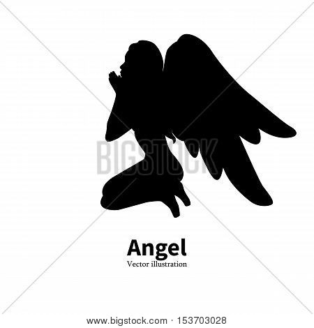Vector illustration of black silhouette of a young girl with angel wings praying. Religious woman bows to God. Isolated white background. Logo icon angel. Side view profile.