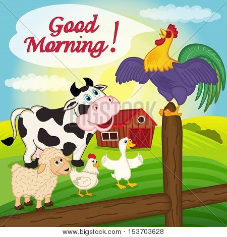 rooster sings on a fence in the morning - vector illustration, eps