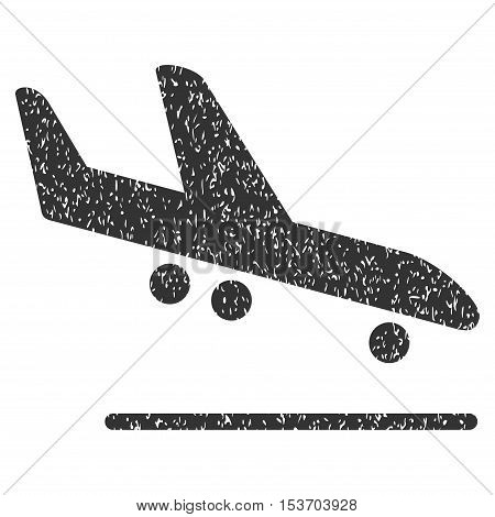 Airplane Arrival rubber seal stamp watermark. Icon symbol inside rounded rectangular frame with grunge design and dust texture. Unclean vector gray ink sign on a white background.