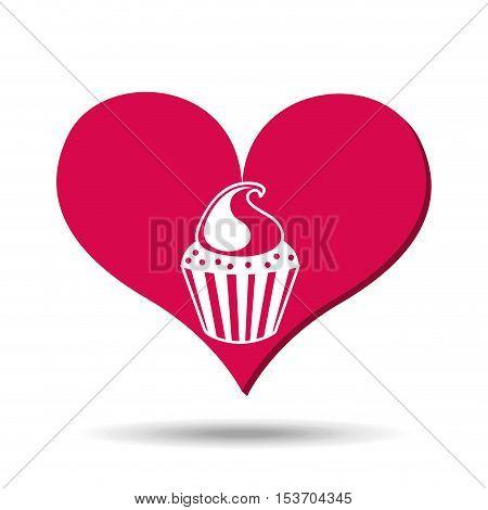 heart red cartoon cupckae chips icon design vector illustration