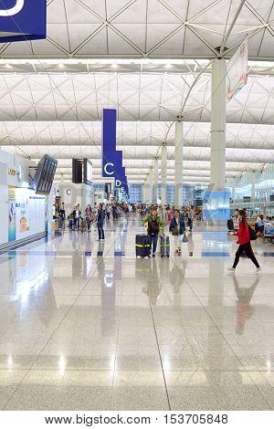 HONG KONG - 06 MAY, 2015: inside Hong Kong Airport. Hong Kong International Airport is the main airport in Hong Kong.