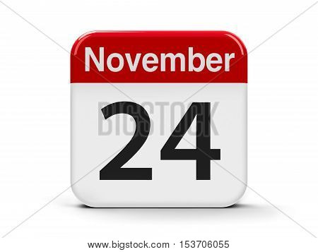 Calendar web button - The Twenty Fourth of November three-dimensional rendering 3D illustration