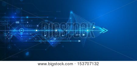 Vector Abstract futuristic, circuit board and mesh line. Illustration high computer and Communication technology on blue color background. High tech digital technology, global social media concept