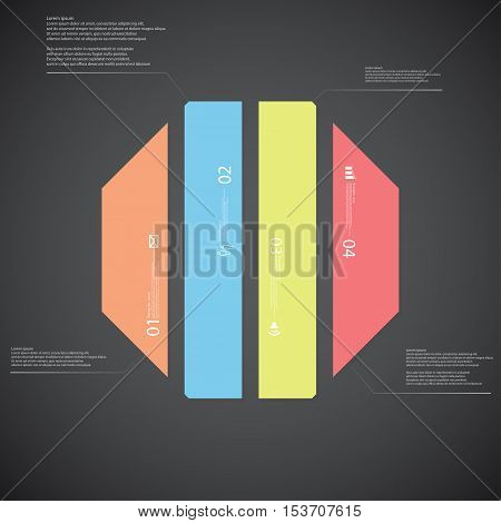Octagon Illustration Template Consists Of Four Color Parts On Dark Background