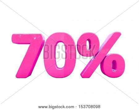 3d Render: Isolated 70 Percent Sign on White Background