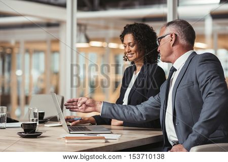 Mature businessman and young work colleague talking together and working on a laptop while sitting at a table in an office boardroom