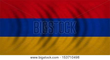 Armenian national official flag. Patriotic symbol banner element background. Correct colors. Flag of Armenia wavy with real detailed fabric texture accurate size illustration