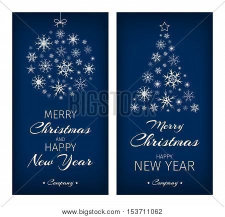Christmas cards with Christmas tree and ball composed from snowflakes. Vector illustration.