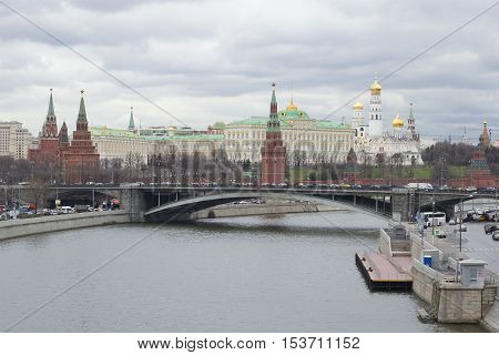 MOSCOW, RUSSIA -APRIL 14, 2015: View of the Moscow Kremlin, cloudy april day, Russia