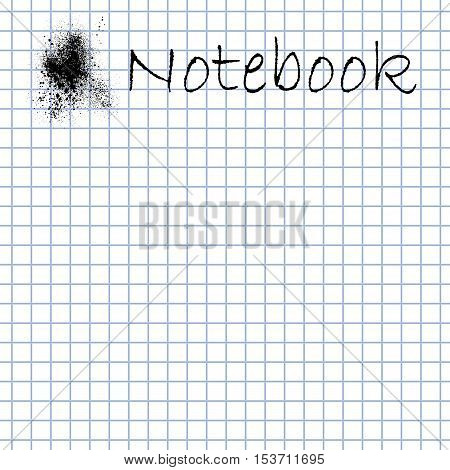 White square graph paper background for notes. Vector illustration