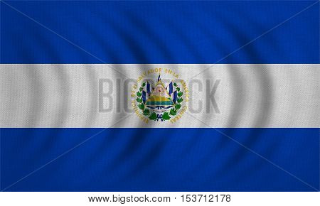 Salvadoran national official flag. Patriotic symbol banner element background. Correct colors. Flag of El Salvador wavy with real detailed fabric texture accurate size illustration