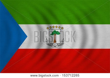 Equatorial Guinean national official flag. African patriotic symbol banner element background. Correct colors. Flag of Equatorial Guinea wavy detailed fabric texture accurate size illustration