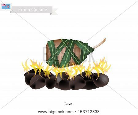 Fijian Cuisine Illustration of Lovo or Traditional Food Made From Meat and Vegetables are Wrapped in Banana Leaves or Palm Leaves Cooked on Heated Stones. The Native Dish of Fiji.