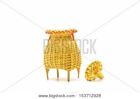 Fishing creel basketwork made from bamboo isolated on white backgound in Thailand.
