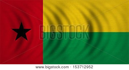 Bissau-Guinean national official flag. Patriotic symbol banner element background. Correct colors. Flag of Guinea-Bissau wavy with real detailed fabric texture accurate size illustration