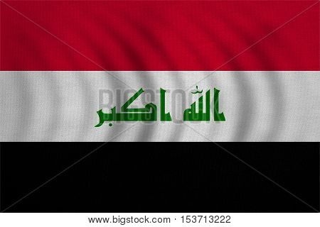 Iraqi national official flag. Irak patriotic symbol element background. Iraki banner. Correct colors. Flag of Iraq wavy with real detailed fabric texture accurate size illustration
