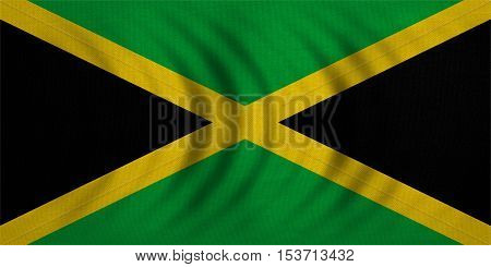 Jamaican national official flag. Patriotic symbol banner element background. Correct colors. Flag of Jamaica wavy with real detailed fabric texture accurate size illustration