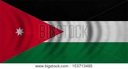 Jordan national official flag. Patriotic symbol banner element background. Correct colors. Flag of Jordan wavy with real detailed fabric texture accurate size illustration