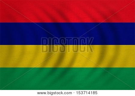 Mauritian national official flag. African patriotic symbol banner element background. Correct colors. Flag of Mauritius wavy with real detailed fabric texture accurate size illustration