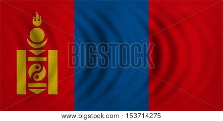 Mongolian national official flag. Patriotic symbol banner element background. Correct colors. Flag of Mongolia wavy with real detailed fabric texture accurate size illustration