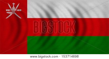 Omani national official flag. Patriotic symbol banner element background. Correct colors. Flag of Oman wavy with real detailed fabric texture accurate size illustration