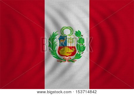 Peruvian national official flag. Patriotic symbol banner element background. Correct colors. Flag of Peru wavy with real detailed fabric texture accurate size illustration