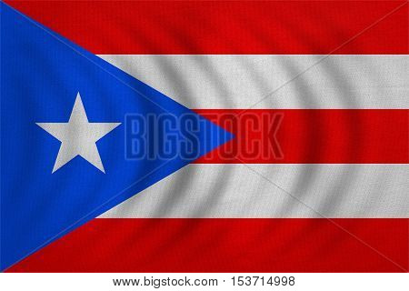 Puerto Rican national official flag. Patriotic symbol banner element background. Correct colors. Flag of Puerto Rico wavy with real detailed fabric texture accurate size illustration