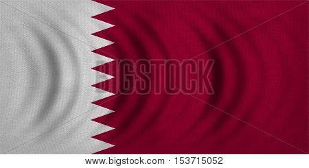 Qatari national official flag. Patriotic symbol banner element background. Correct colors. Flag of Qatar wavy with real detailed fabric texture accurate size illustration