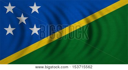 Solomon Island national official flag. Patriotic symbol banner element background. Correct colors. Flag of Solomon Islands wavy with real detailed fabric texture accurate size illustration