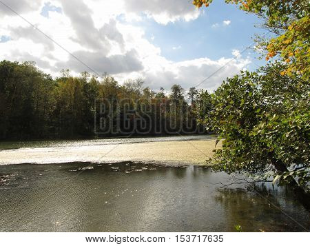Tranquil water scene along the Clinch River in Oak Ridge, Tennessee