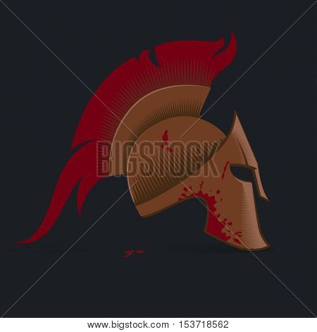 Spartan Helmet illustration Greek warrior - Gladiator legionnaire heroic soldier. vector