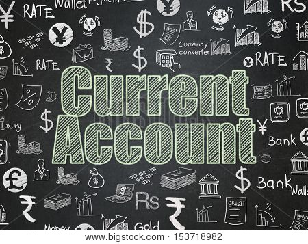 Money concept: Chalk Green text Current Account on School board background with  Hand Drawn Finance Icons, School Board