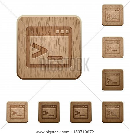 Command prompt icons in carved wooden button styles
