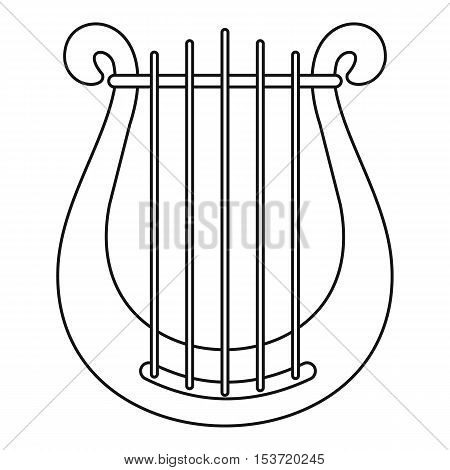 Harp icon. Outline illustration of harp vector icon for web