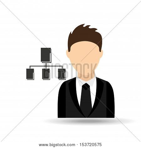 character man with data base system design vector illustration eps 10