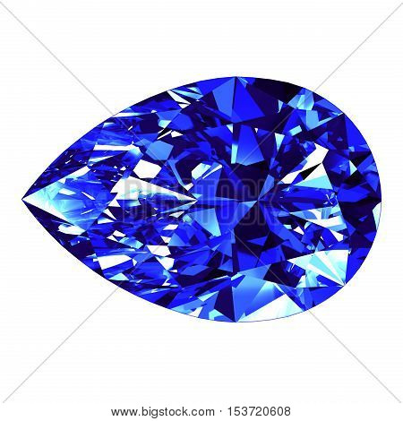 Sapphire Pear Cut Over White Background. 3D Illustration.