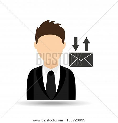 character man with email mail design vector illustration eps 10