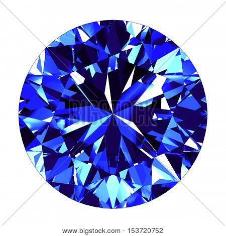 Sapphire Round Cut Over White Background. 3D Illustration.