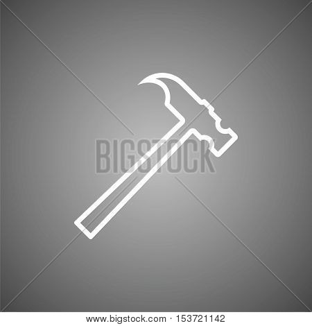 Simple Line Hammer Icon on gray background