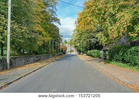 Autumnal street scene in rural Hampshire, UK