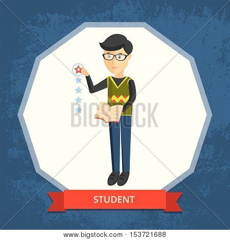 Student, raising their level of learning. Vector illustration