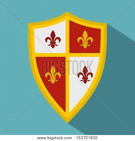 Royal shield icon. Flat illustration of royal shield vector icon for web