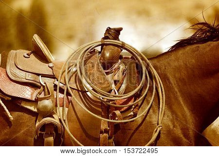 An artistic presentation of a horse and saddle in a sepia tone with a rodeo rope.