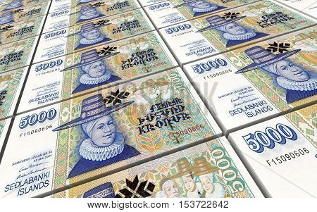 Icelandic krona bills stacks background. 3D illustration.