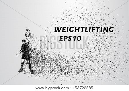 Powerlifting from the particles. Weightlifting consists of circles and points.
