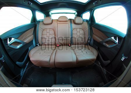 car interior, rear seat in the passenger car
