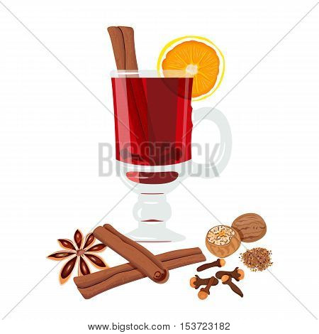 Mulled wine set with glass of drink and ingredients: cinnamon, , citrus, clove, nutmeg, star anise. vector illustration. Known as gluhwein, glogg cardinal
