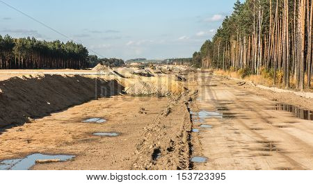 earthworks for the construction of the A1 motorway in Poland